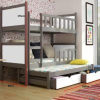 Kajtuś 3 Drewniane Kolorowe Piętrowe Potrójne łóżko Dla Dzieci